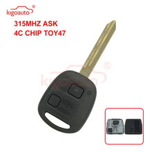 Kigoauto Remote car key 2 button TOY47 uncut blade  for Toyota Yaris 315mhz 4C chip car key fob dandkey 2 buttons remote key fob shell uncut blade key case replacement cover for toyota yaris with rubber pad