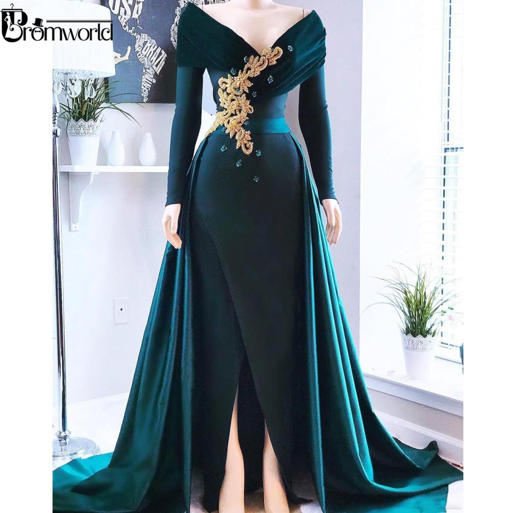 Elegant Hunter Green Muslim Evening Dress 2019 Dubai Islamic Arabic Satin V-Neck Long Sleeve Women Formal Dress Robe De Soiree