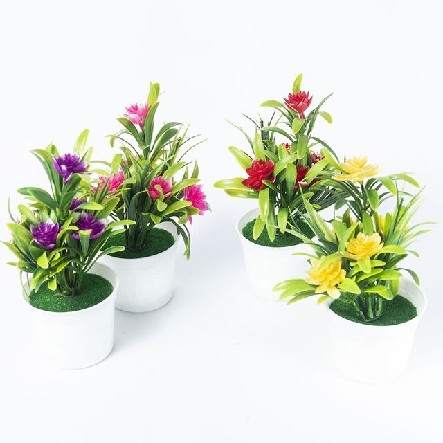 Artificial Potted Simulation Small Lotus Flowers Fake PU Water Lily DIY Home Garden Table Decoration Lotus Plant 2
