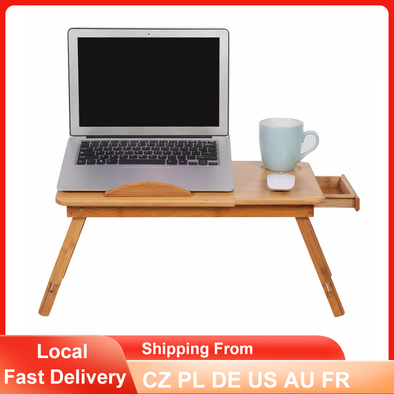 Bamboo Laptop Table Adjustable Folding Computer Desk Bed Office Notebook Stand Portable TV PC Lapdesk with Drawer