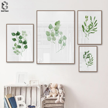 Minimalist Botanical Canvas Prints Cost-effective Nordic Fresh Plant Poster Green Leaves Painting Wall Picture Living Room Decor