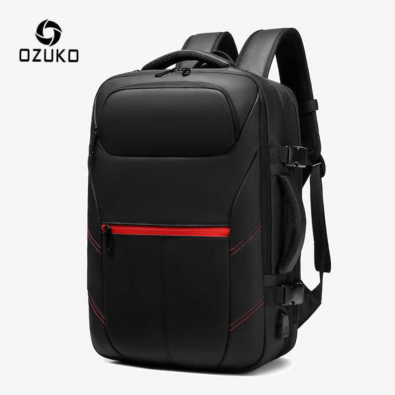 OZUKO Expandable Men Backpack Large Capacity Laptop/Computer Backpacks Male Casual USB Charging Travel Bag Waterproof Mochila