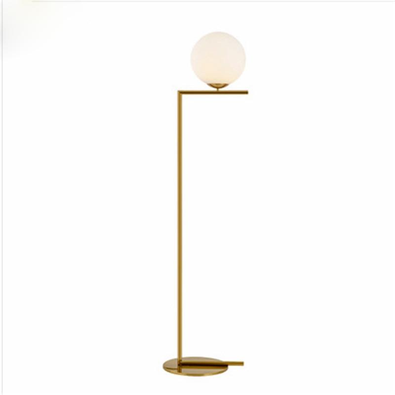 Lampadaire boule Led moderne lampadaire luxe glod lampadaire verre blanc lampe sur pied salon chevet Deco éclairage sur pied - 5