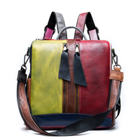 Fashion Women Backpack 100% Genuine Leather Daily Casual Knapsack Preppy Style Schoolbag Small Travel Bags Patchwork