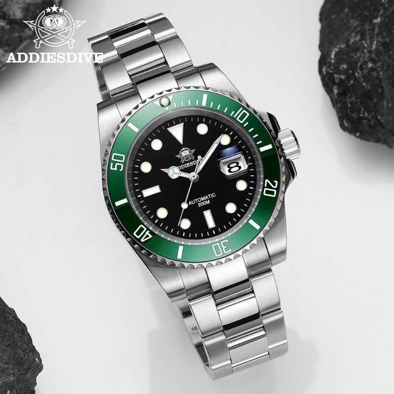 Addies швейцарские часы для дайвинга Для мужчин автоматические наручные часы сапфировые Роскошные сапфировое стекло механические наручные ч...