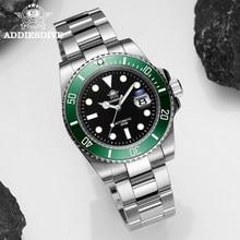 Addies swiss relógio de mergulho men relógio automático safira luxo cristal relógio de pulso mecânico aço inoxidável à prova dwaterproof água