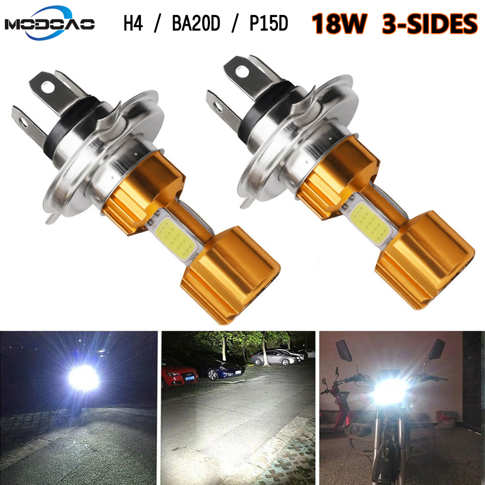 2PCS H4 LED Car Motorcycle Headlight Bulb H4 Hi-Lo BA20D P15D 6500K 12V Motorbike Fog Light COB Moped Scooter Outdoor Lighting
