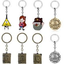 Bill Cipher Keyring Key Chain Mysterious Town Stanley Pines Dipper Mabel Pines Zodiac Journal Metal Enamel Keychain Key Holder