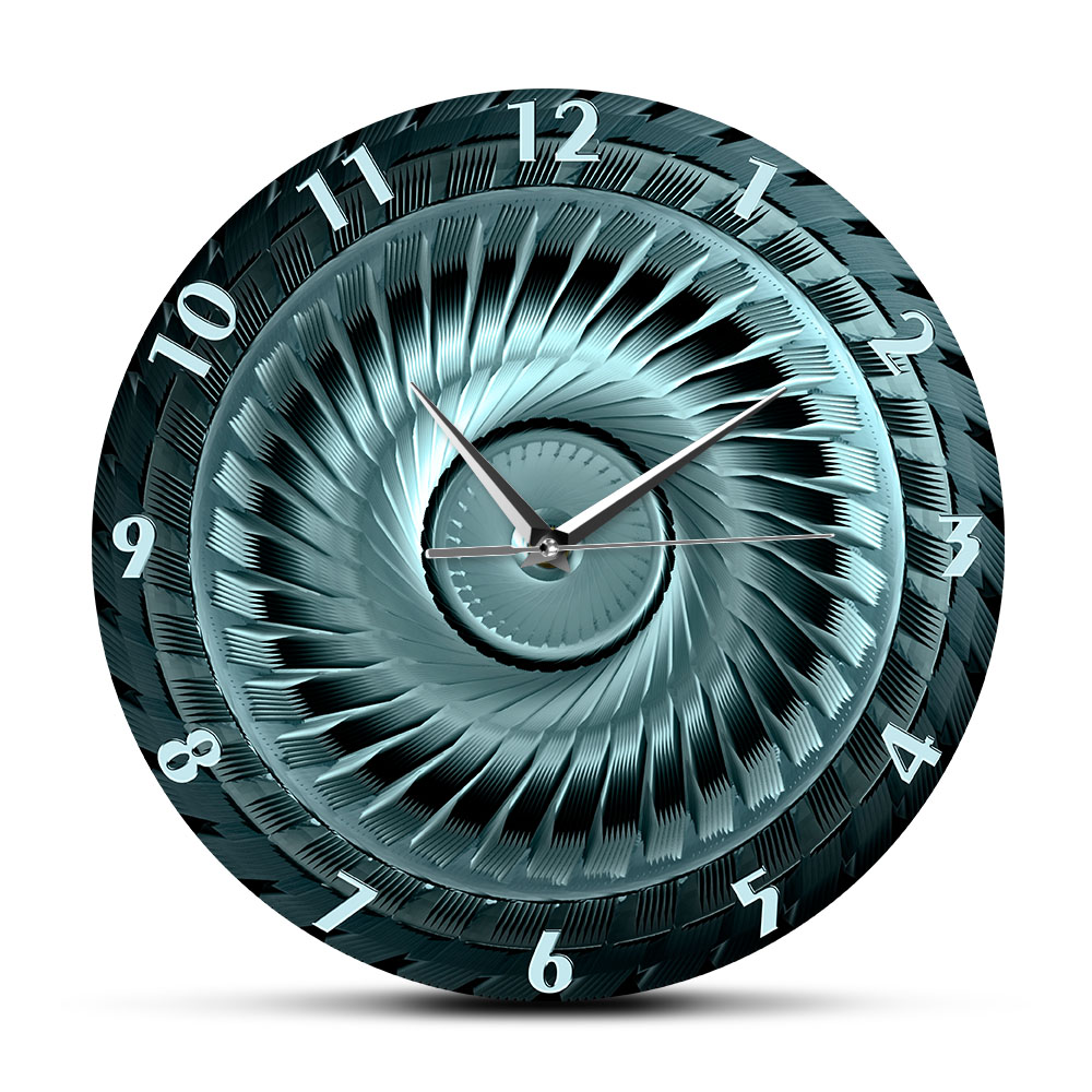 Industrial Steel <font><b>Wheel</b></font> With Blades Decorative <font><b>Clock</b></font> for Automotive Mechanic Shop Man Cave <font><b>Car</b></font> Enthusiasts Boy Bedroom Wall Watch image