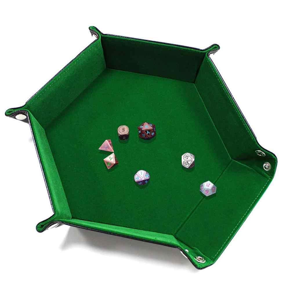 XRHYY Rolling หกเหลี่ยมพับเกมลูกเต๋าถาดสำหรับ RPG DND ลูกเต๋าเกมคู่หนาหนัง PU และกำมะหยี่ MAT