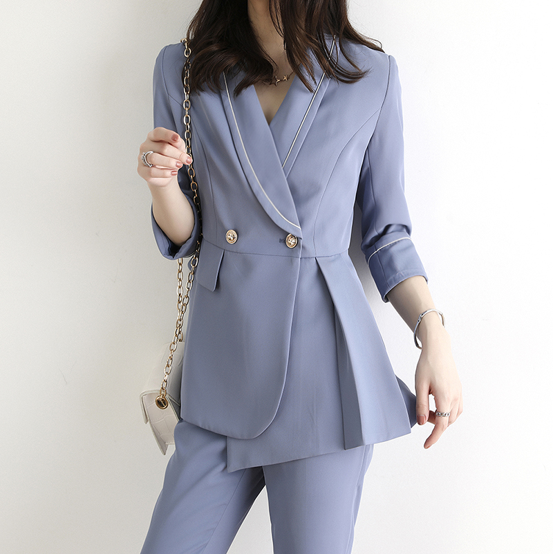 Chic Office Ladies two Piece Blazer Pant Suits Button Suit Jacket & Straight Leg Suit Pants Female Blazer Set Autumn vs439