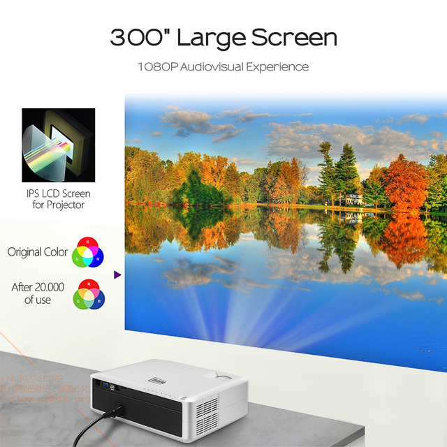AUN Full HD Projector AKEY6, 1920x1080P, 5800 Lumens, Built in Multimedia System Video Beamer, LED Projector for Home Theater 3