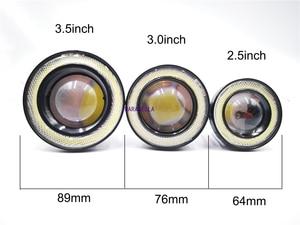 "Image 3 - 2pcs Angel Eyes Fog Lamp  3.0"" 76mm  12V Universal COB LED DRL Driving Lights white blue pink yellow green red"