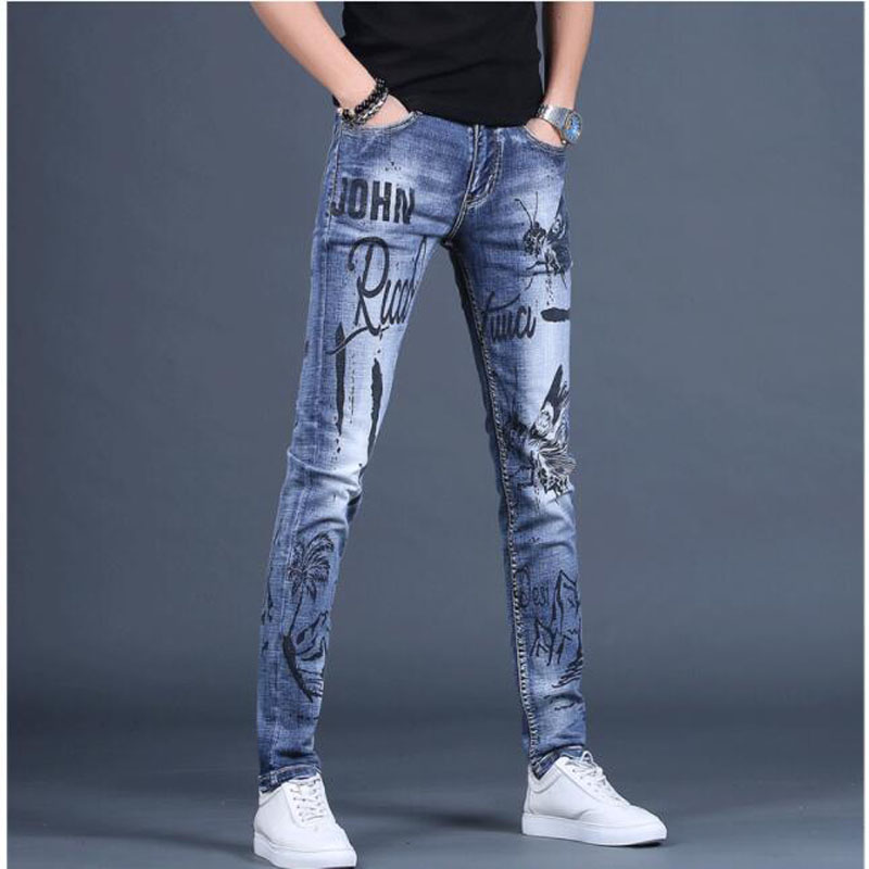 Free Shipping New Men's Male Denim Jeans Personality Jeans Printed Feet Pants Tide Brand Korean Slim Trend Casual Trousers
