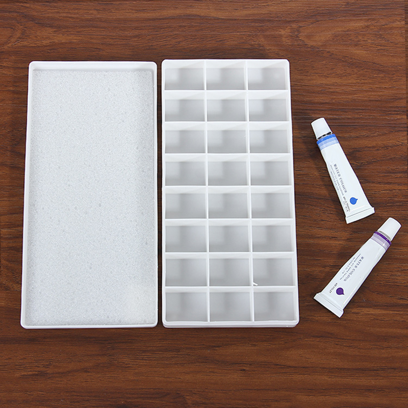 24 Grid Hard Cover Plastic Color Box Pigment Gouache For Acrylic Oil Painting