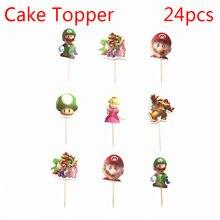 24 pçs super mari desenhos animados homem festa cupcake bolo toppers picaretas crianças festa de aniversário suprimentos decorações de casamento bolo copo