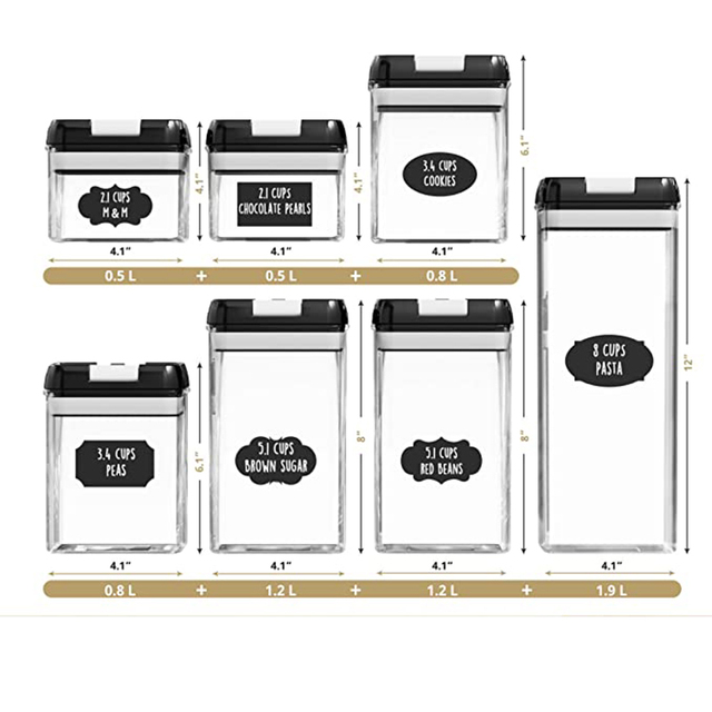 Sealed Food Storage Container Set Kitchen And Food Storage Room Organization Transparent Container 7 Piece Set Label And Pen 2