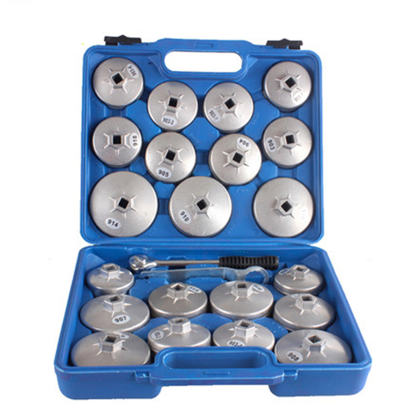 23pcs Aluminum Alloy Cup Type Oil Filter Cap Wrench Socket Removal Tool Set 1/2