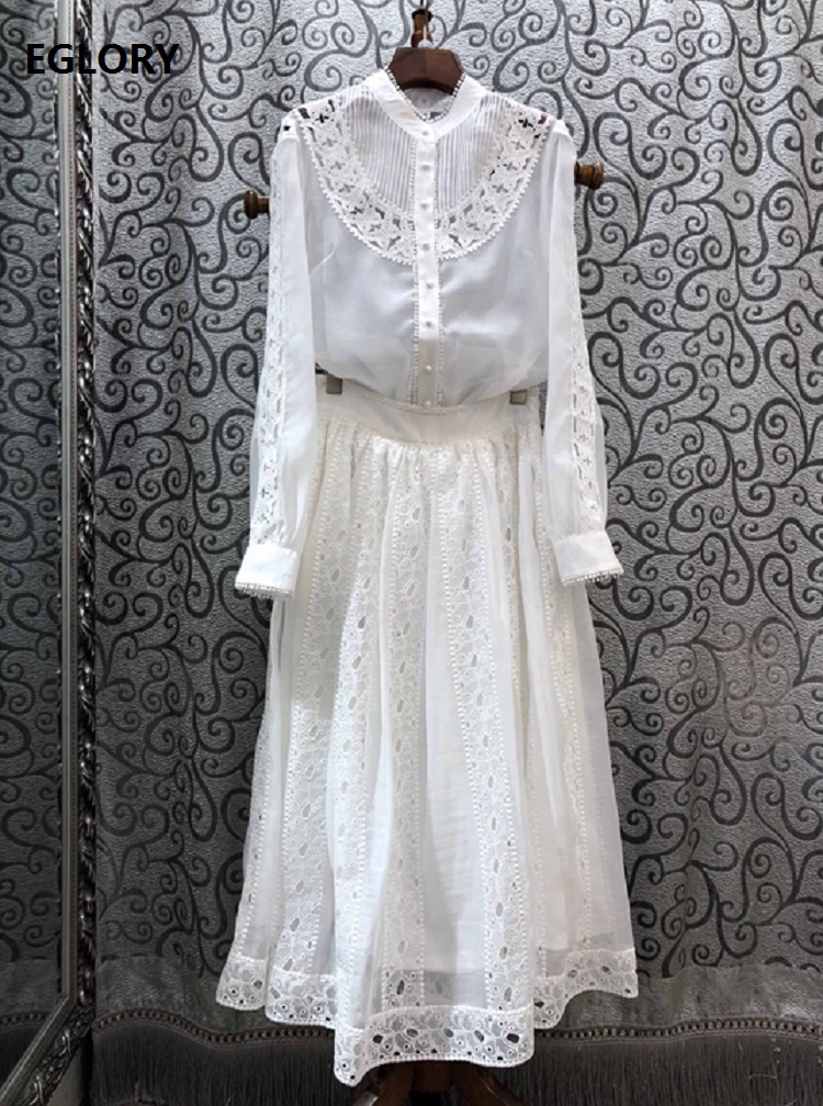 Top Quality Designer Clothing Sets 2020 Spring Long Skirt Suit Women Hollow Out Butterfly Embroidery White Shirt+Long Maxi Skirt