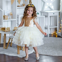 Toddler Infant Girl Birthday Dress Ivory Puffy Tulle Gold Sequined O Neck Princess Party Gown Flower Girl Dress 1-14Y Props