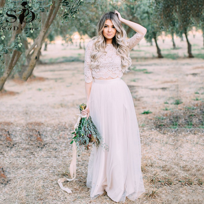 Two Pieces Wedding Dress With Half Sleeve Boho Wedding Gowns France Lace Tops Cheap Rustic Bridal Dress