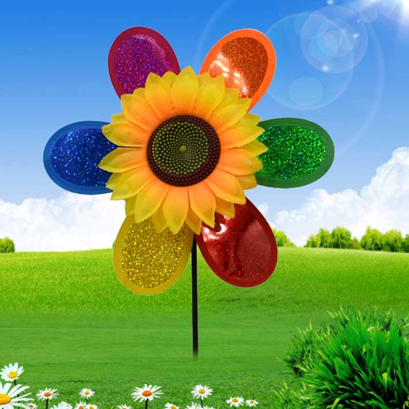สีสันสดใส Sunflower Windmill Wind Spinner Home Garden Yard ตกแต่ง Q0KB
