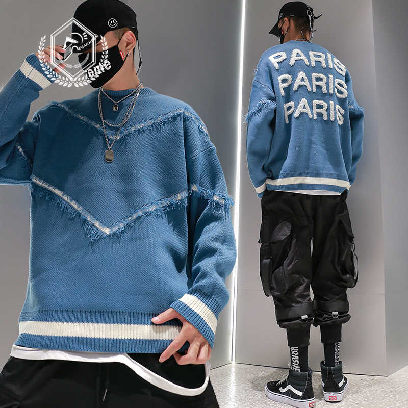 Männer Lose Strickwaren Mode Paris Stickerei Hip Hop NEUE Pullover