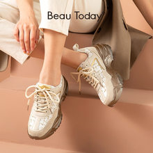 BeauToday – baskets en cuir synthétique pour femmes, chaussures plates décontractées à lacets, Patchwork à bout rond, à la mode, 29398