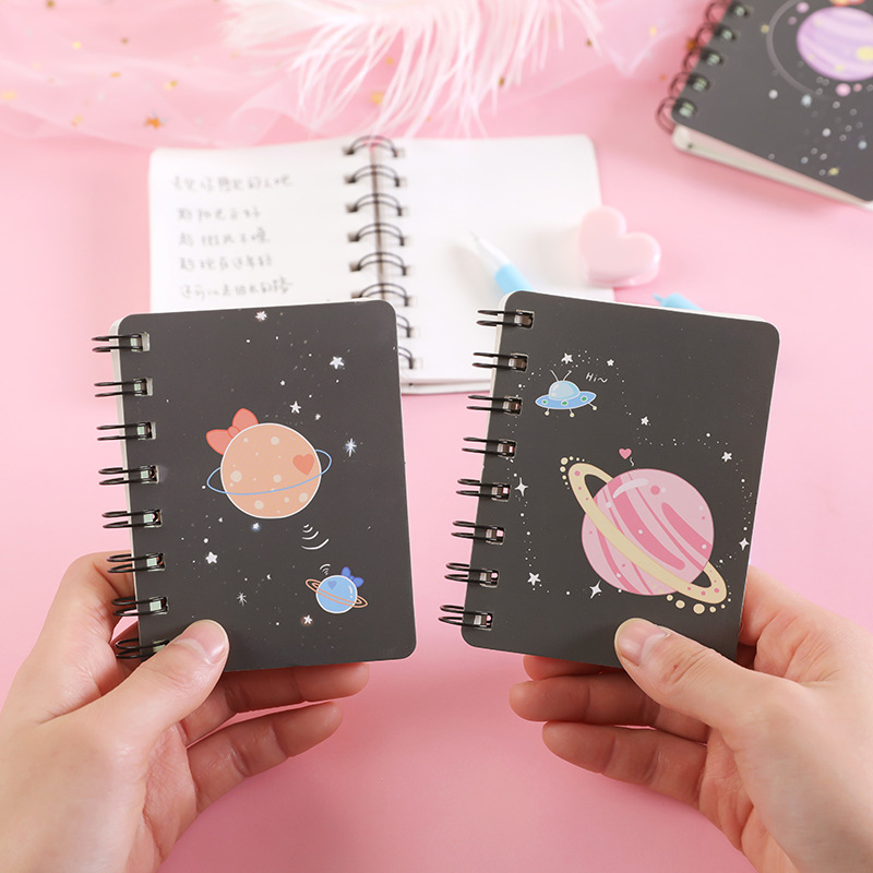 A7 Dream Planet Cute Mini Portable Coil Notepad Diary Book Exercise Book Escolar Papelaria School Office Supply