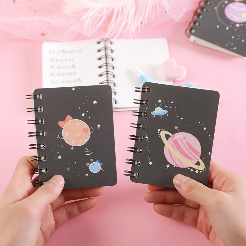 A7 Dream Planet милый мини портативный блокнот с катушкой, дневник, книга для упражнений, школьные и офисные принадлежности