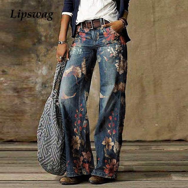 Casual Plus Size Loose Jeans Women 2020 Autumn Winter Elegant Floral Print Denim Pants Vintage Ladies Wide Leg Jean Trousers 5XL