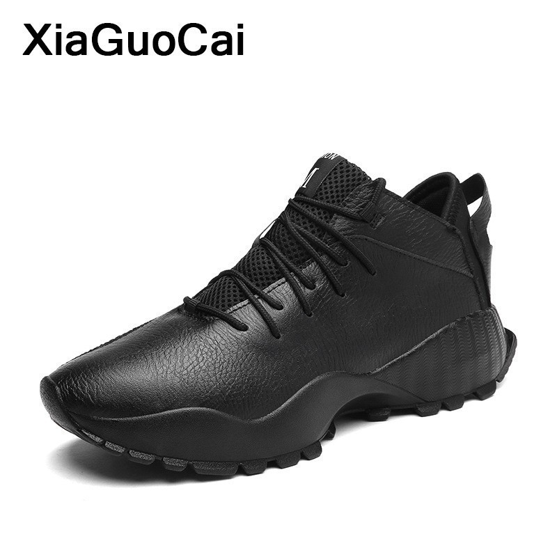 Spring Autumn Men Sneakers Fashion Casual Shoes Man Breathable PU Leather Shoes Lace Up Comfortable Male Footwear Dropshipping