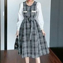 Korean Version Japanese  Winter Autumn Dress Thin Trendy Simple Best Sellers  Dress Elegant Splicing Round Neck Long Sleeve