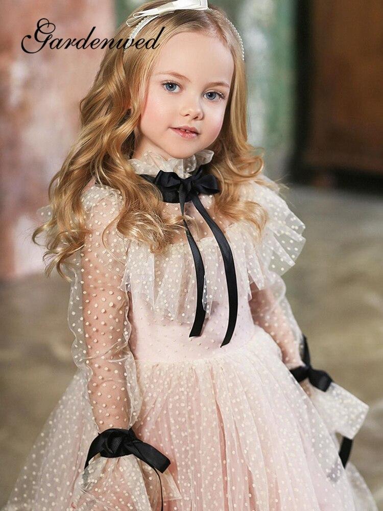 Fairy Polka-dot Tulle Flower Girl Dresses Illusion Long Poet Sleeves Girl Wedding Party Dress Ribbons Champagne Communion Dress