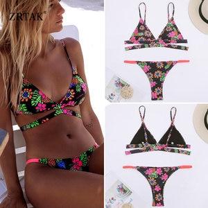 Image 2 - Zrtak Ruffle Bikinis 2019 Mujer Sexy Lace Biquinis Feminino Solid Swimwear Women Swimsuit Push Up Brazilian Bikini Set Ladies