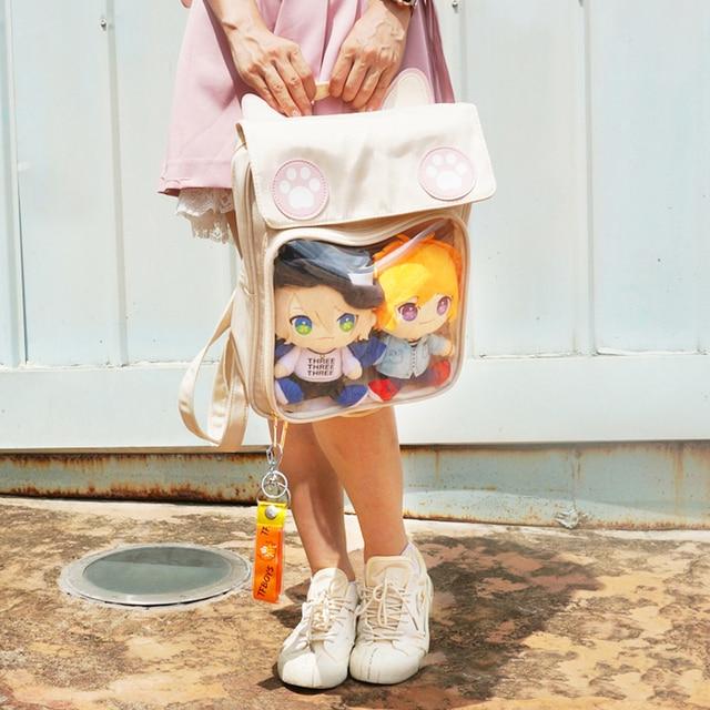 2020 Women Cute ITA Bag Wih Cat Bagging Backpacks Paws School backpack for teenager girls transparent backpack Clear Itabag H204 3