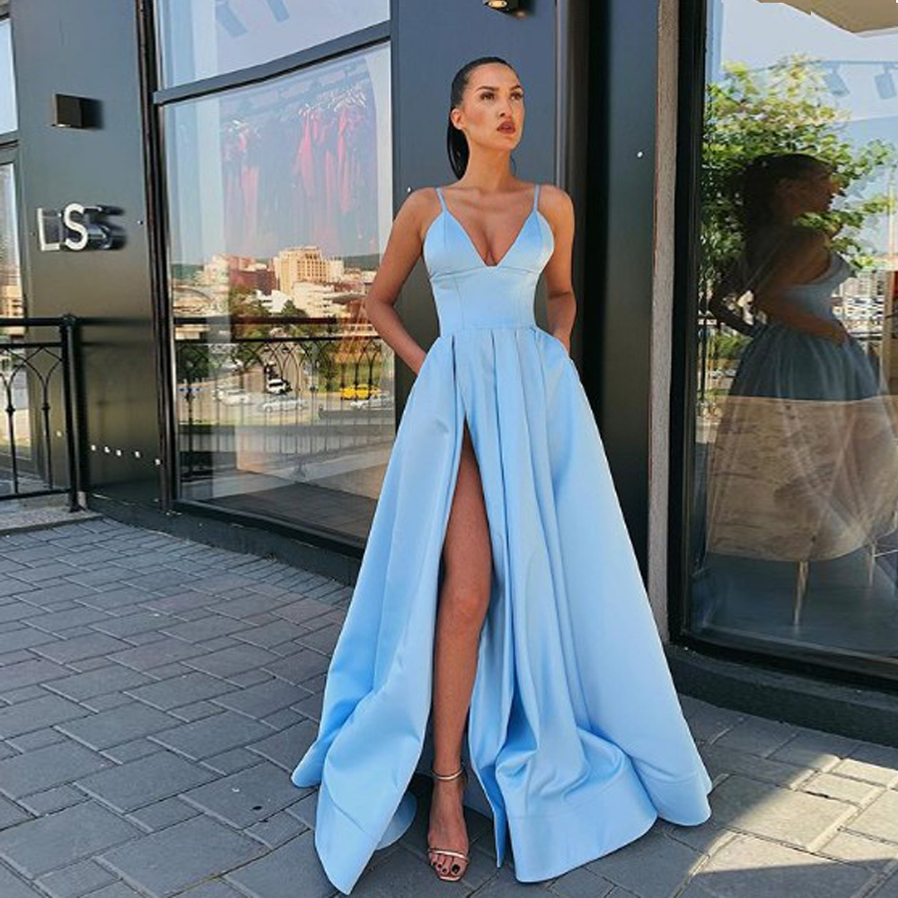 Autumn 2020 Prom Party Evening Dresses Pocket Vestido De Noiva Sereia Gown Dress Robe De Soiree Sexy V-neck Vestido Novia Playa