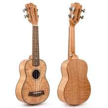 Kmise – ukulélé Soprano, 21 pouces, tête de guitare classique, okoumé, flamme de tigre, 15 frettes