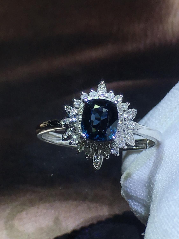 820 Fijne Sieraden Pure 18K White Gold Natuurlijke Blauw Spinel Edelstenen 0.98ct Diamonds Classic Ontwerp Vrouw Ringen voor presenteert - 3