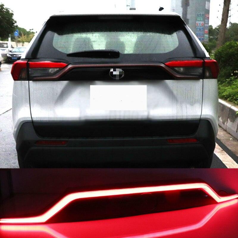 For Toyota RAV4 2019 2020 Red Black Rear Bumper Reflector LED Tail Stop Brake Light Car