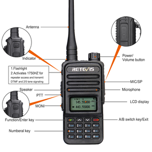Image 2 - Retevis RT85 Walkie Talkie 5W VHF UHF Dual Band VFO Amateur Two way Ham Radio Station Portable Radio For Hunting Support CHIRP
