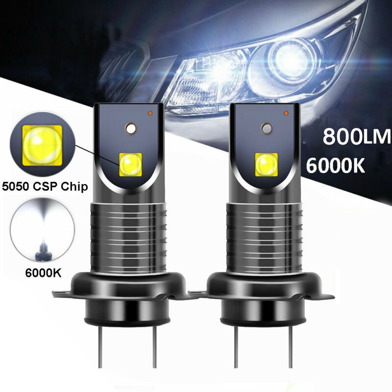 2pcs H7 12W 3000LM 6000K Auto Car LED Headlight Kit 5050 Error Free Lamp Bulbs Headlights DC9-32V Styling