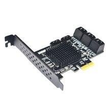 Placa de expansão pcie sata iii, 8 portas do controlador pcie 2.0x1 sata 6g com suporte de baixo perfil suporte win10 pcie sata card