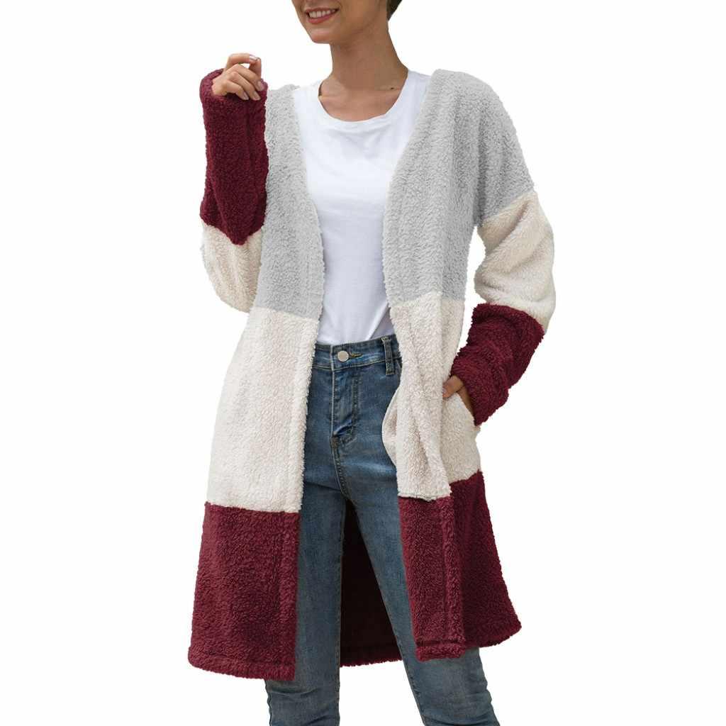 FREIER OSTRICH frauen mode pullover herbst lange-ärmeln V-ausschnitt strickjacke pullover mantel casual tri-farbe gestreiften nähte pullover