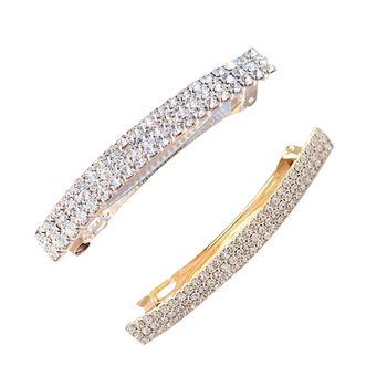 Rectangle Automatic Rhinestone Spring Hair Barrette Pin Clips Jewelry - discount item  38% OFF Headwear
