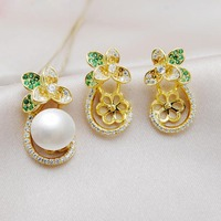 MeiBaPJ Real 925 Sterling Silver Fashion Flower Golden Jewelry Set Natural Pearl Pendant and Earrings Wedding Jewelry for Women