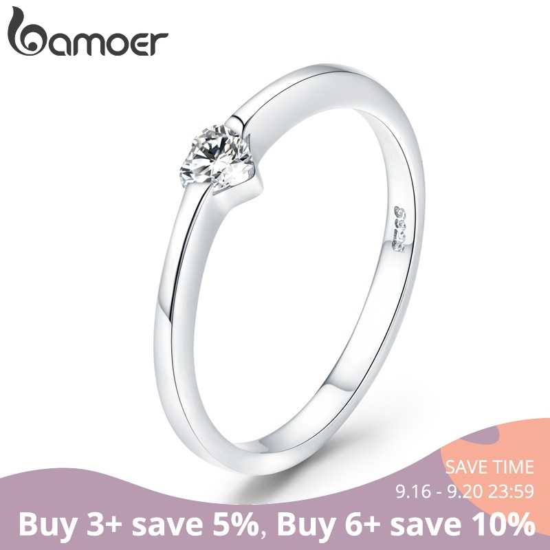 bamoer 925 Sterling Silver Luminous Finger Ring Simple Heart Wedding Rings for Women Wedding Engagement Jewelry SCR450