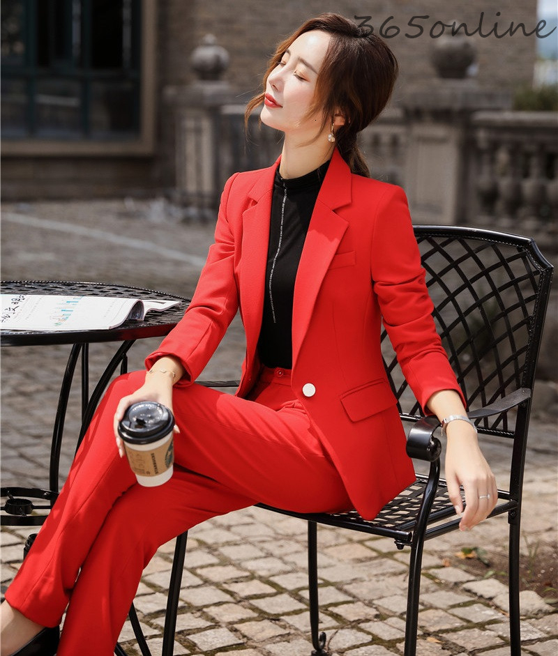 Fashion Styles Ladies Office Blazers Suits With2 Piece Set Pants And Jackets Coat Elegant Red OL Styles Ladies Pantsuits