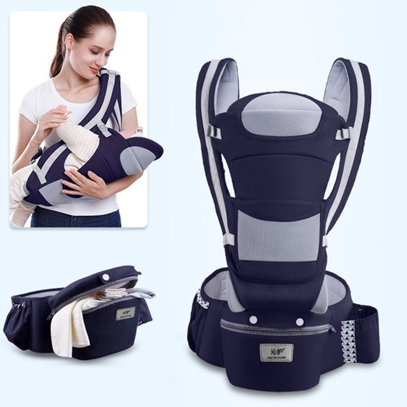 MissAbigale Ergonomic Baby Carrier Infant Baby Hipseat Carrier Front Facing Ergonomic Kangaroo Baby Wrap Sling Travel For 0~48M