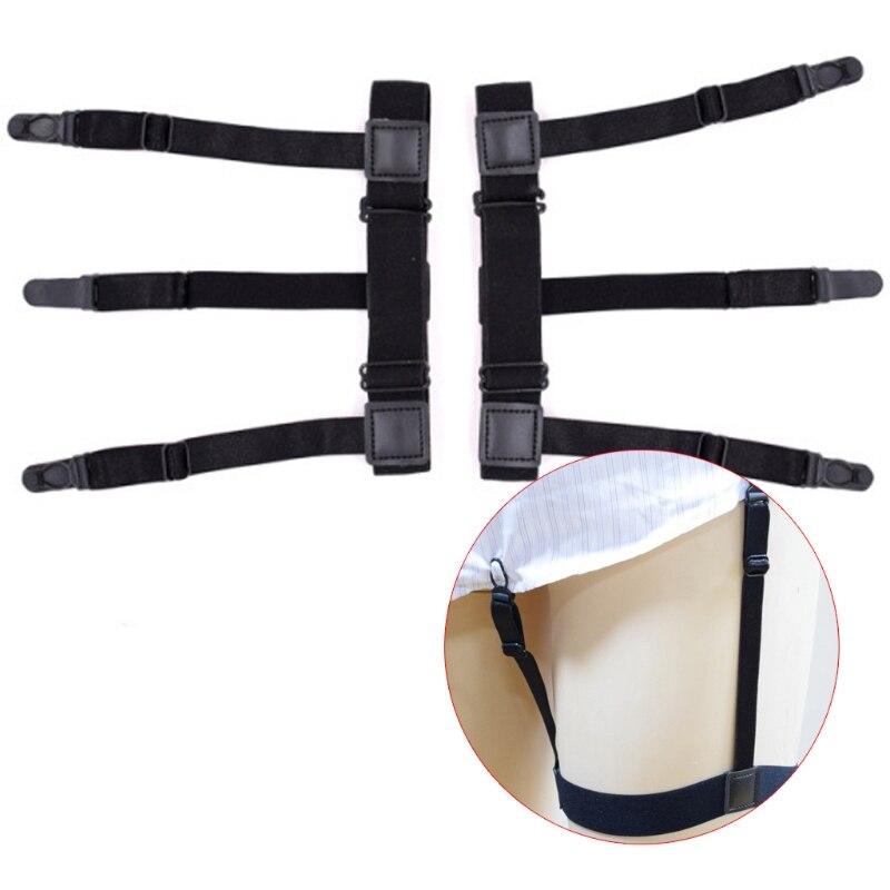 2Pcs/Set Mens Shirt Stays Elastic Leg Suspenders Plastic Non-slip Locking Clamps
